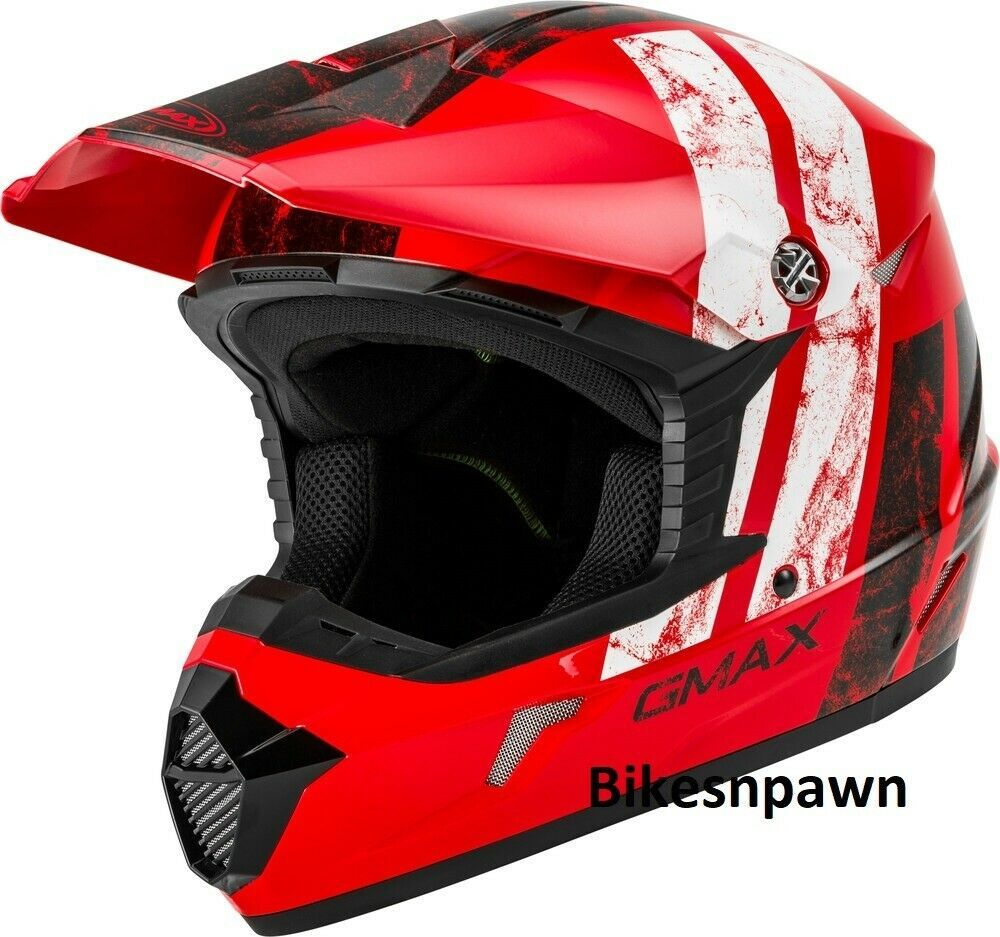 New Youth L Gmax GM46 Dominant Red/Black/White Offroad Helmet DOT