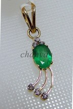 Artisan Genuine Diamond Solid 14K Gold Hallmark Gift Emerald Pendant CSJ... - $1,048.73
