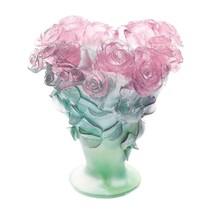 DAUM Crystal  Roses Large Pink et green vase 03547 France - $5,742.00