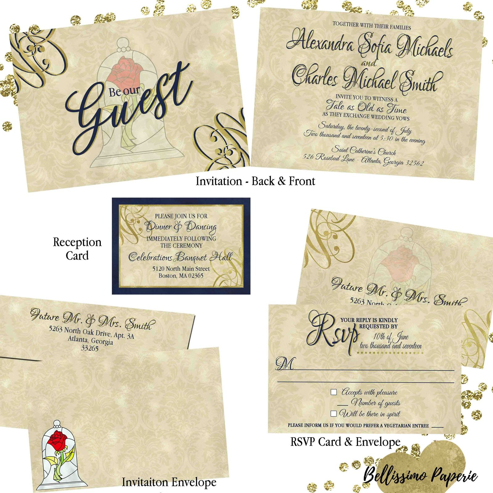 Beauty and the Beast Wedding invitation Set: RSVP Reception Envelope Navy Gold