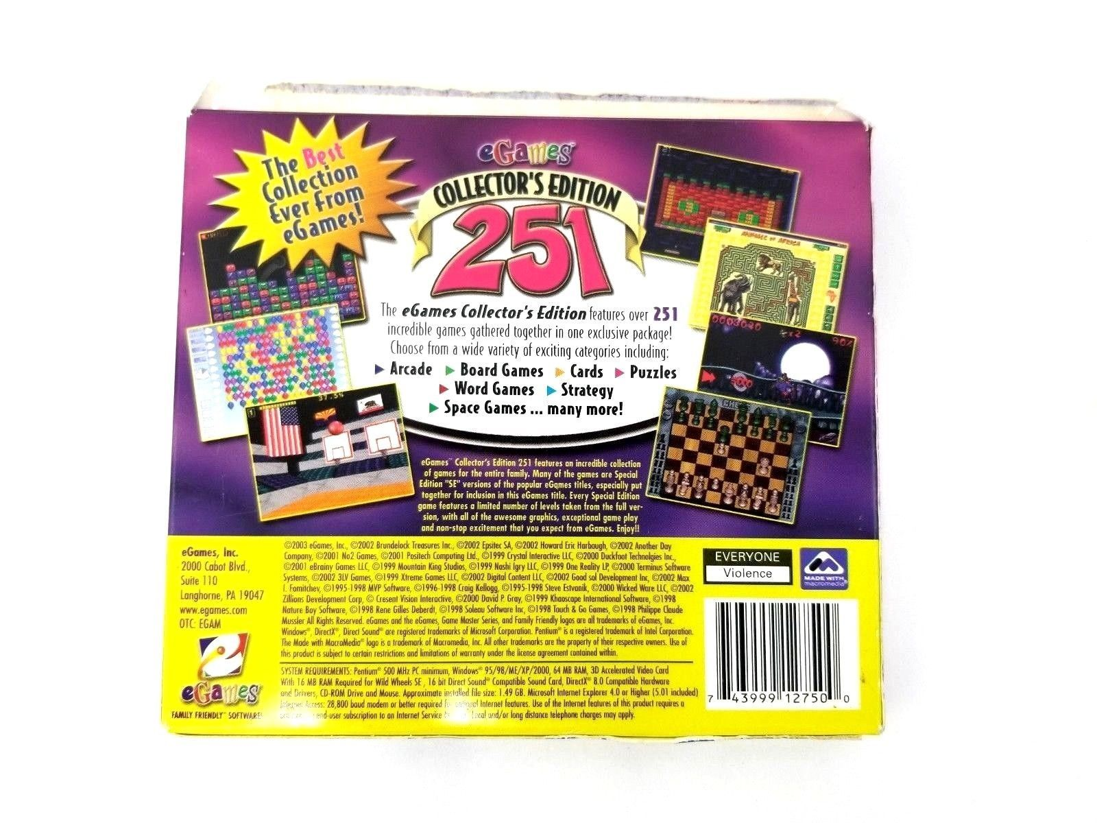 251 Awesome Games Puzzle Word Games PC Games 2003 Collector's Edition New
