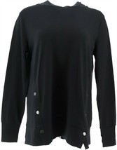 AnyBody French Terry Sweatshirt Side Snaps Black L NEW A367681 - $29.68
