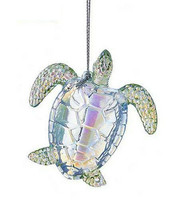 "Kurt Adler 3"" Iridescent Acrylic Sea Turtle Nautical Coastal Christmas Ornament - $6.88"