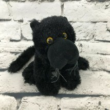 Webkinz Ganz Black Panther Plush Yellow Eyes Stuffed Animal Soft Toy Wild Cat - $7.91