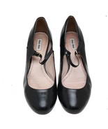 Auth MIU MIU Black Leather Round Toe Buckle Official Pumps SIze 41 US 11... - $112.20