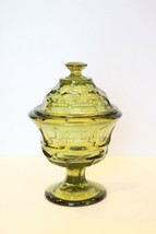 VTG Avocado Green cut glass Footed Hex Honeycomb Candy Dish covered JAR ... - $28.70