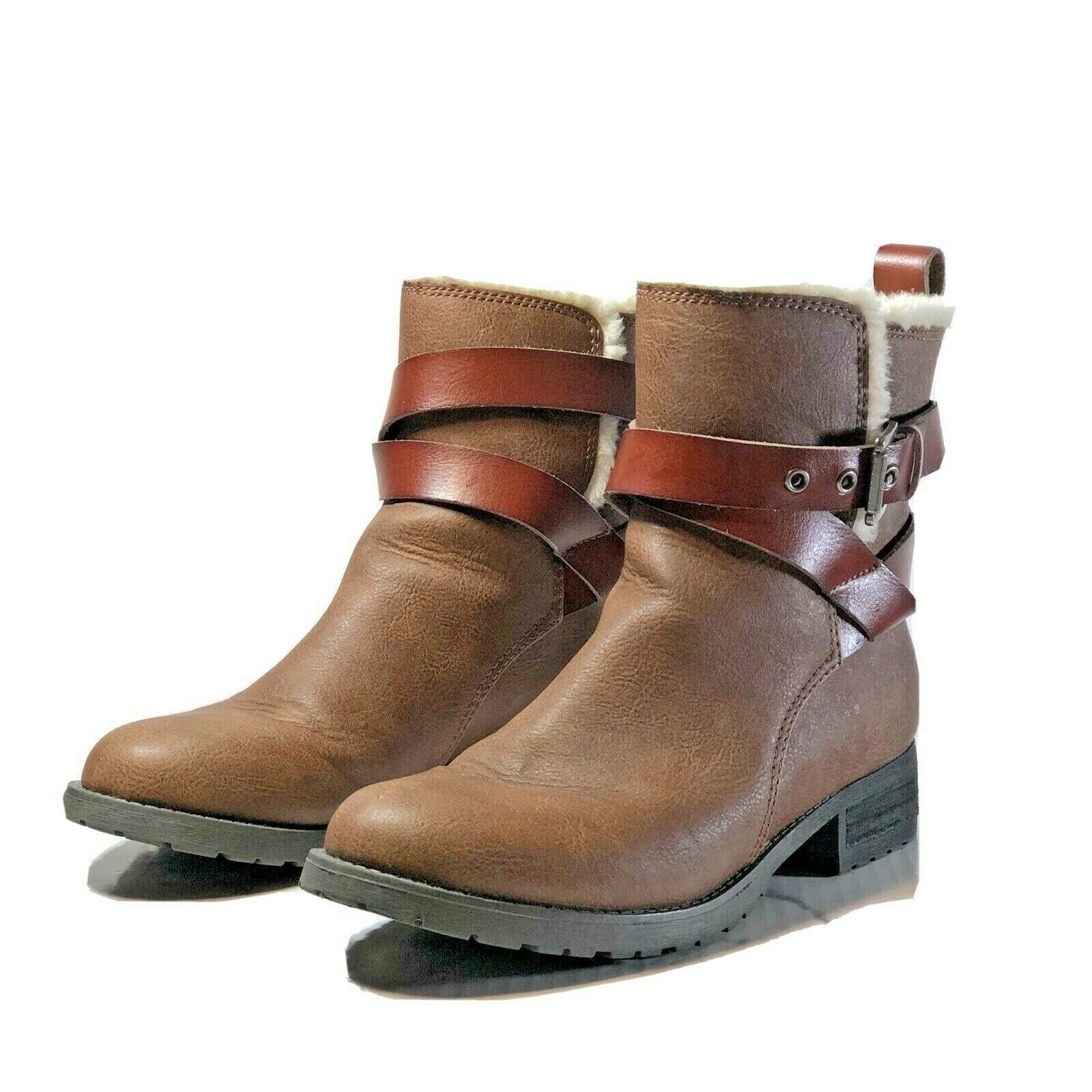 American Eagle Outfitters Womens size 6 Ankle Boots Faux fur lined Brown Booties - $26.72