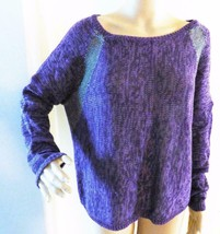 DKNY Jeans Long-Sleeve Metallic-Knit Colorblocked Sweater, M, Purple / Silver - $6.19