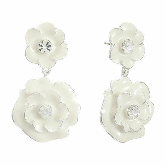 Primary image for Liz Claiborne Women's White Flower Drop Earrings Silver Tone New
