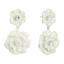 Liz Claiborne Women's White Flower Drop Earrings Silver Tone New - $19.79