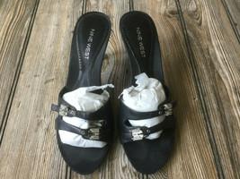 Nine West Womens Black Leather Open Toe Casual Slide Sandals US Size 6.5 - $12.09