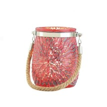 8 Red Pressed Glass Jar Candle Holders w/ Flower Design Centerpieces - $51.43