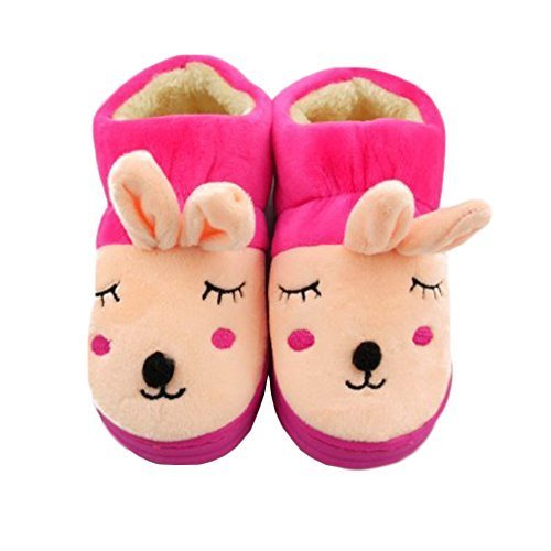 Lovely Rabbit Winter Baby Shoes Warm Indoor Slippers(Rose Red, 4-5 Years Old)