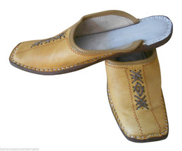 Men Slippers Indian Handmade Traditional Leather Open Clogs Mojaries US 9  - $34.99