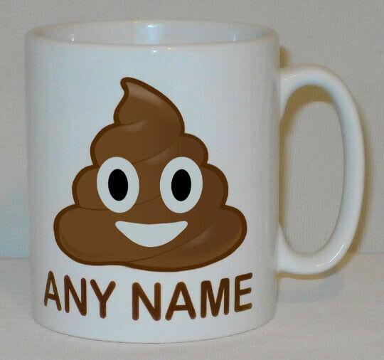 Poop Emoji Mug PERSONALISED Any Name Funny Poo Emoticon Fart Office Work Gift