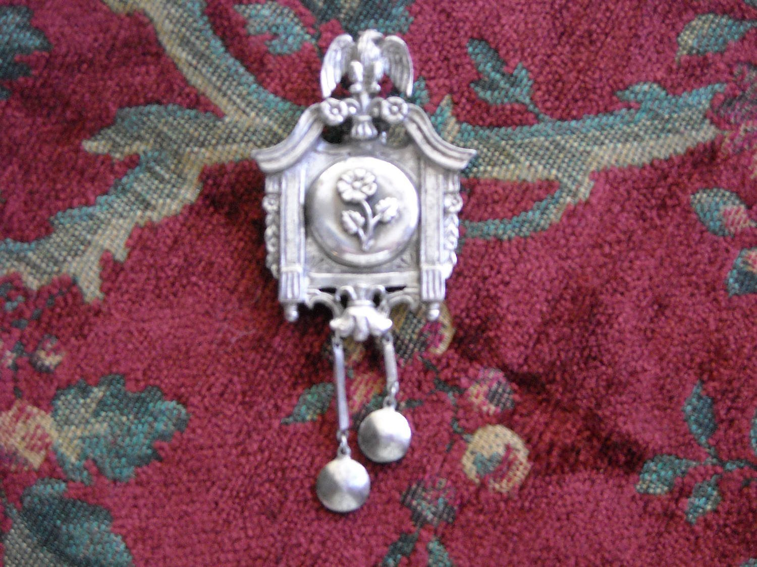 Primary image for Vintage Metal Cuckoo Clock Style LOCKET Brooch Double Pin For Extra Safety RARE