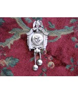 Vintage Metal Cuckoo Clock Style LOCKET Brooch Double Pin For Extra Safe... - $89.95