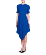 Stella McCartney Short-Sleeve Handkerchief-Hem Dress, Capri Blue 36 MSRP... - $399.99