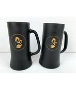 Vintage The Playboy Club Key Black Matte Gold Design Mug Stein Glass Bunny 2 Set - $20.89