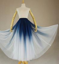 Women Blue White Dye Tulle Skirt A-line Tie Dye Long Tulle Skirt Evening Skirts  image 3