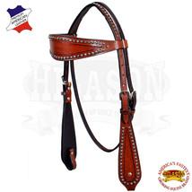 Western Horse Headstall Tack Bridle American Leather Dark Brown Hilason U-3-HS - $64.34