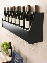 Black Wood Wall Mount Wine Rack Hanging Glass Storage 18 Bottle Holder B... - $86.03