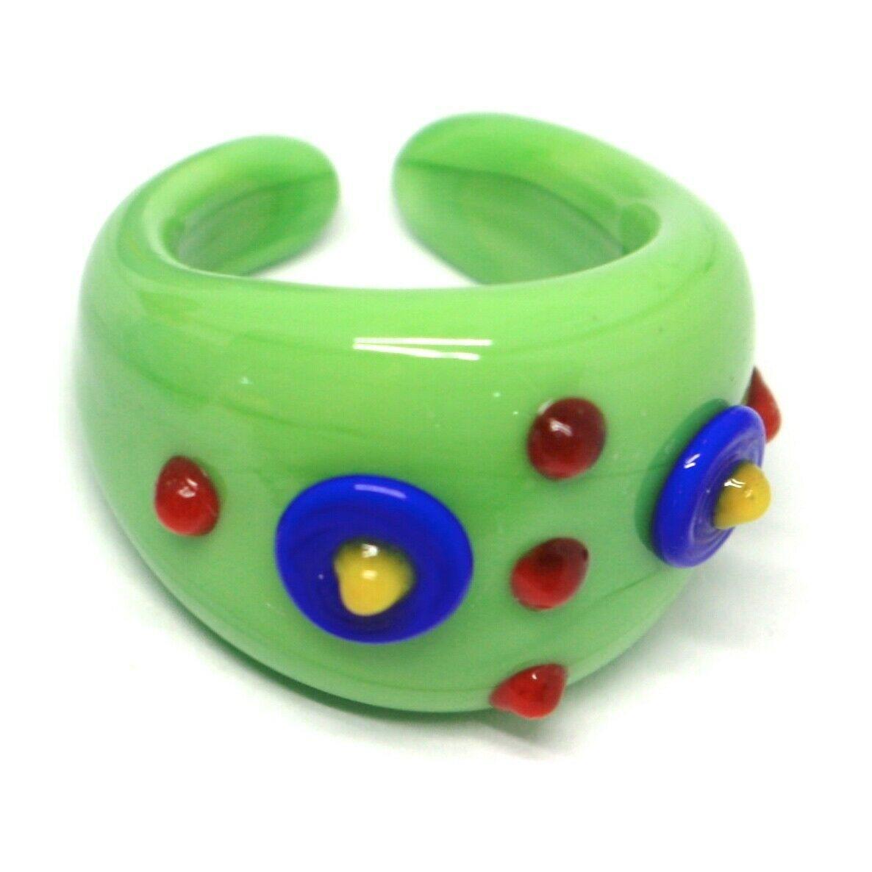 Ring Antique Murrina, Murano Glass, Green, Discs, Polka dot Embossed