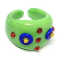 Ring Antique Murrina, Murano Glass, Green, Discs, Polka dot Embossed image 1