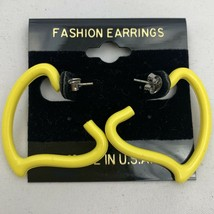 Vintage Bright Yellow Heart Shape Hoop Earrings Statement Plastic NOS 80... - $14.80