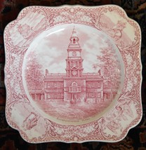 """COLONIAL TIMES INDEPENDENCE HALL CROWN DUCAL SQUARE SALAD PLATE 8.25"""" PI... - $54.99"""