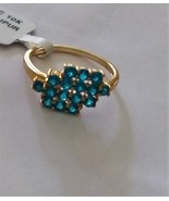 10k Yellow Gold Blue Neon Apatite Round Cluster Ring, Size 8, 1.00(TCW),... - $189.99