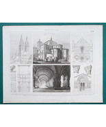 ARCHITECTURE Romanesque in France Caen Poitiers Arles - 1870s Antique Print - $16.20