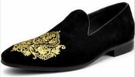 Handmade Men's Black Velvet Slip Ons Loafer Gold Embroidery Patches Shoes image 1
