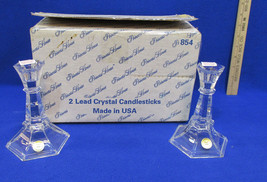 """Princess House Candle Holders Crystal Glass Candlestick # 854 Tapers USA NOS 6"""" - $21.77"""