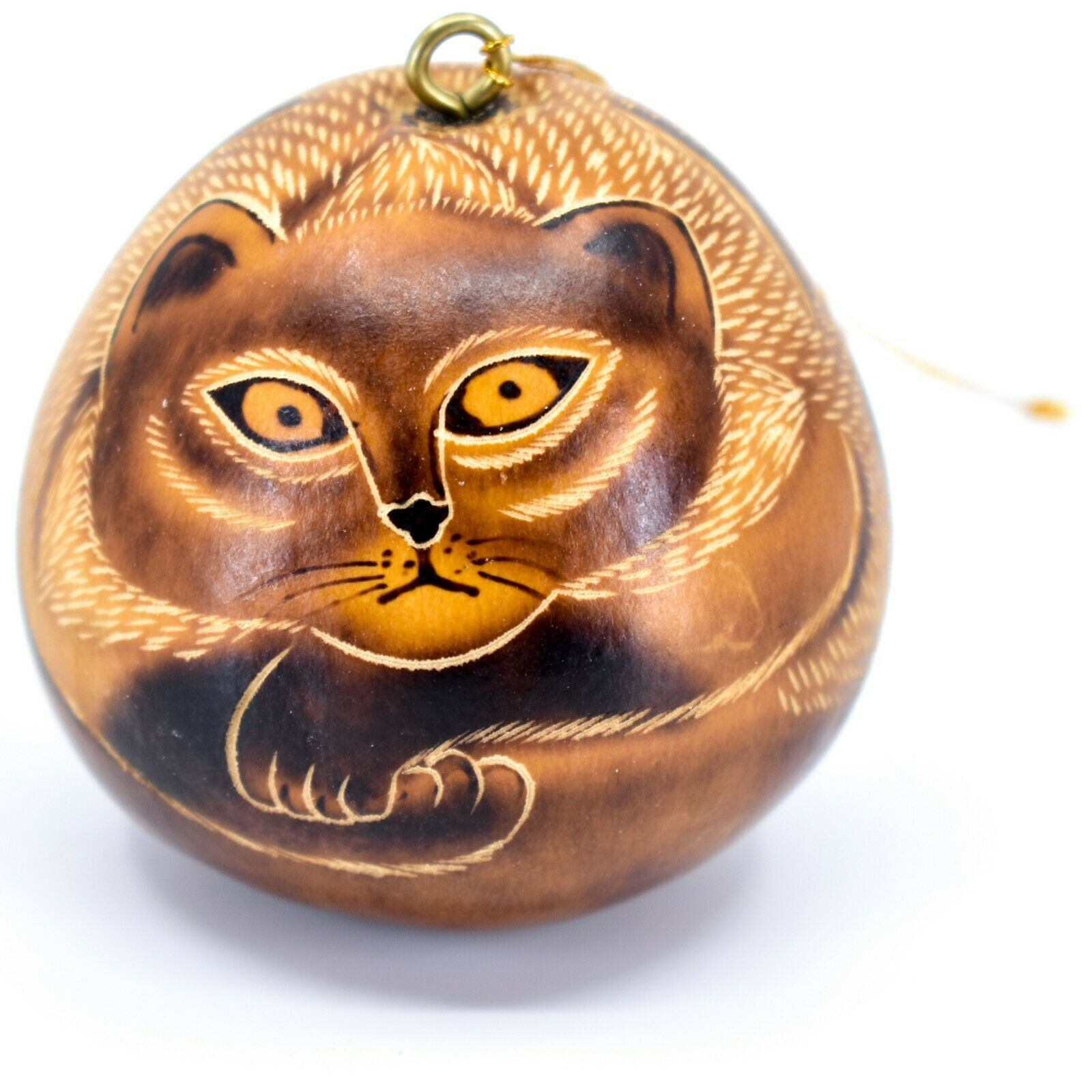 Handcrafted Carved Gourd Art Laying Cat Kitten Kitty Ornament Made in Peru