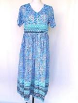Only Necessities Blue Batik Lounge Dress Womans Medium Patio House Swim ... - $31.88