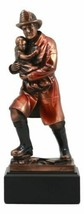 Heroic Fireman With Turnout Jacket Saving Child Statue Emergency Fire Re... - $48.99
