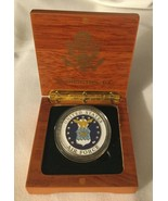 AIR FORCE CHALLENGE COIN in WOOD BOX GOLD EAGLE SEAL US DUTY HONOR COUNT... - $15.39
