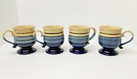 Set of 4 Brown Blue & Creme Striped Coffee Tea Pedestal Mugs Cups 12 oz - $22.98