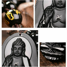 Black Natural A Obsidian Carved Buddha Pendant Rope with Chain - Random design image 2