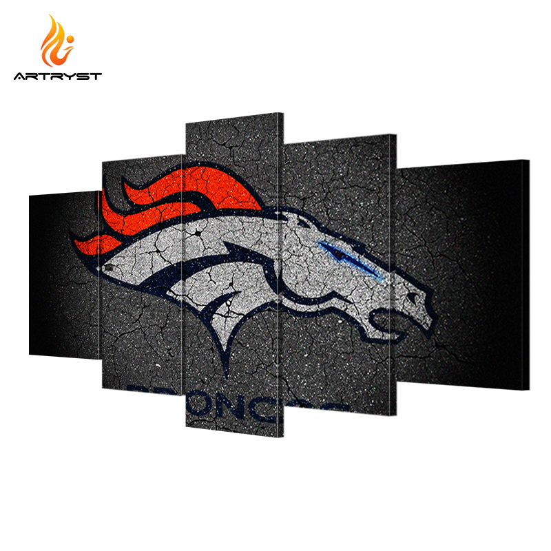 5 Panel Denver Broncos Sports Team HD Canvas Paintings Wall Art Home Decor