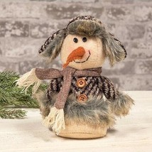 Country SMALL PLUSH SITTING SNOWMAN DOLL Rustic Primitive Farmhouse Chri... - $35.99