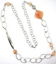 Halskette Silber 925, Jade Brown, Länge 105 cm, Kette Oval und Rolo image 3