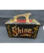 "Mid Century Wood & Metal "" 5 Cent SHINE"" Shoe Shine Box US décor America... - $120.00"