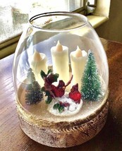 Red Cardinal CHRISTMAS  Cloche with LED Candles  CHRISTMAS  - $24.63
