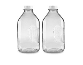 The Dairy Shoppe Heavy Glass Milk Bottles 64 Oz Jugs with Extra Lids 2, ... - $37.81
