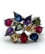 Colorful Cluster Ring, Teardrop Rainbow Statement Ring Red Blue Purple G... - $16.83