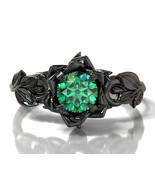 Leaf Engagement Ring, Lotus Ring, Emerald Engagement Ring Women Black,  - £69.98 GBP