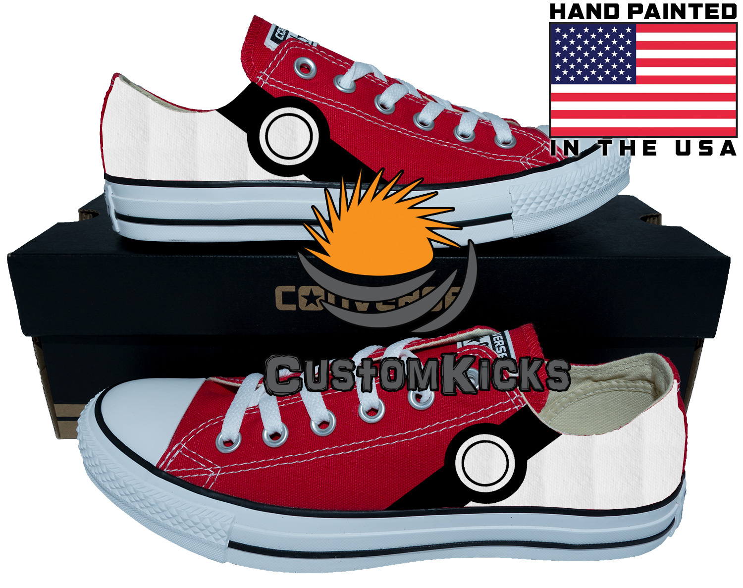 Painted converse sneakers, Pokemon, Pikachu, Poke Ball, Hand painted shoes