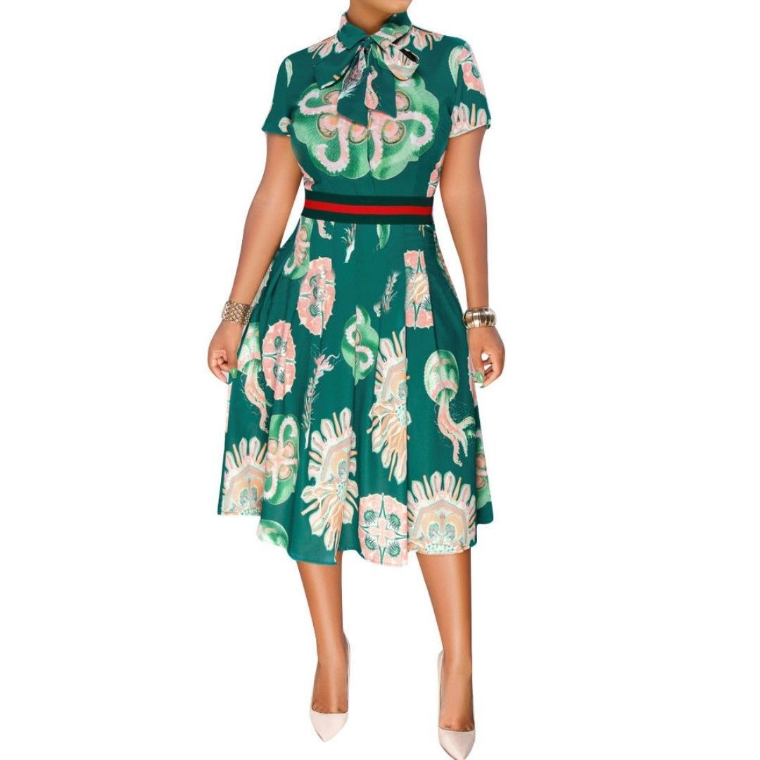 Casual Bow Tie Fit Flare Knee Length Green Short Sleeve Dress SMALL image 2